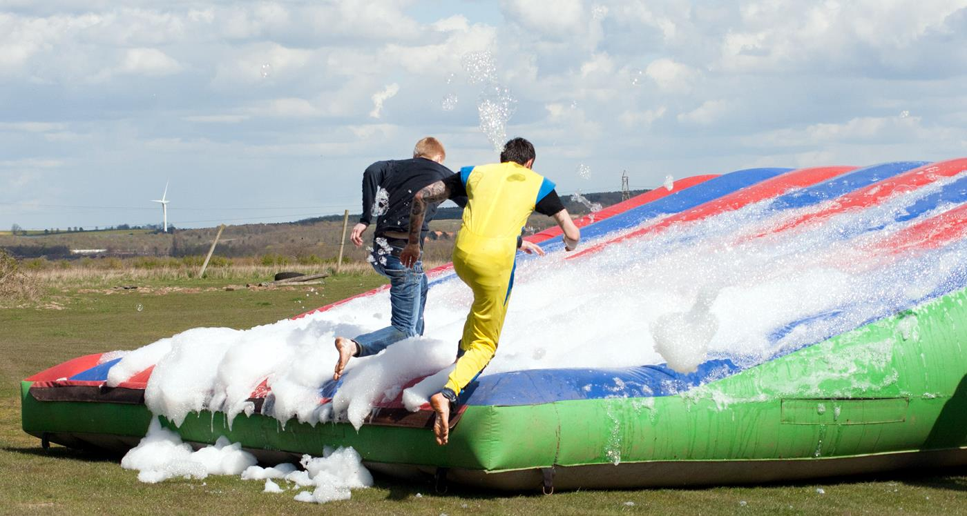 it's a knockout inflatable race