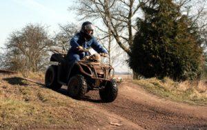 quad biking downhill